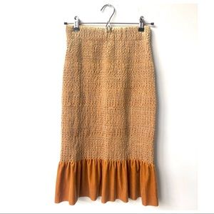 Genuine People Stretch Golden Velvet Trumpet Skirt